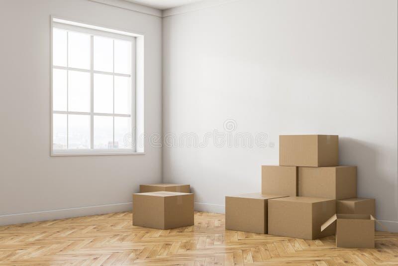 Canto vazio da sala branca com caixas ilustração do vetor