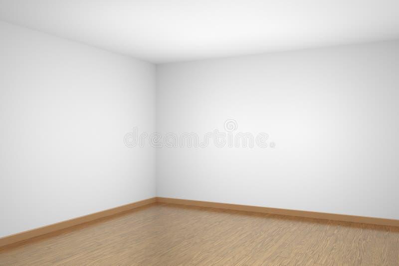 Canto vazio da sala branca com o assoalho de parquet de madeira marrom ilustração stock