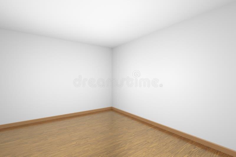 Canto vazio da sala branca com o assoalho de parquet de madeira marrom ilustração do vetor