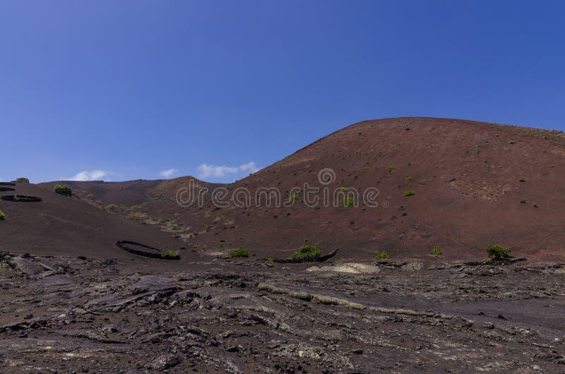 Canto volcánico con un campo de lava imagen de archivo libre de regalías