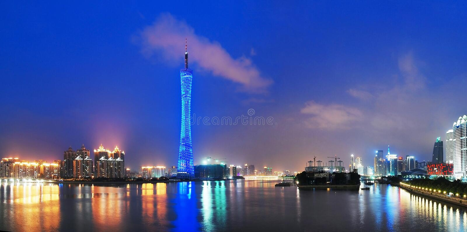 Canton tower. With blue lights in the blue night,guangzhou