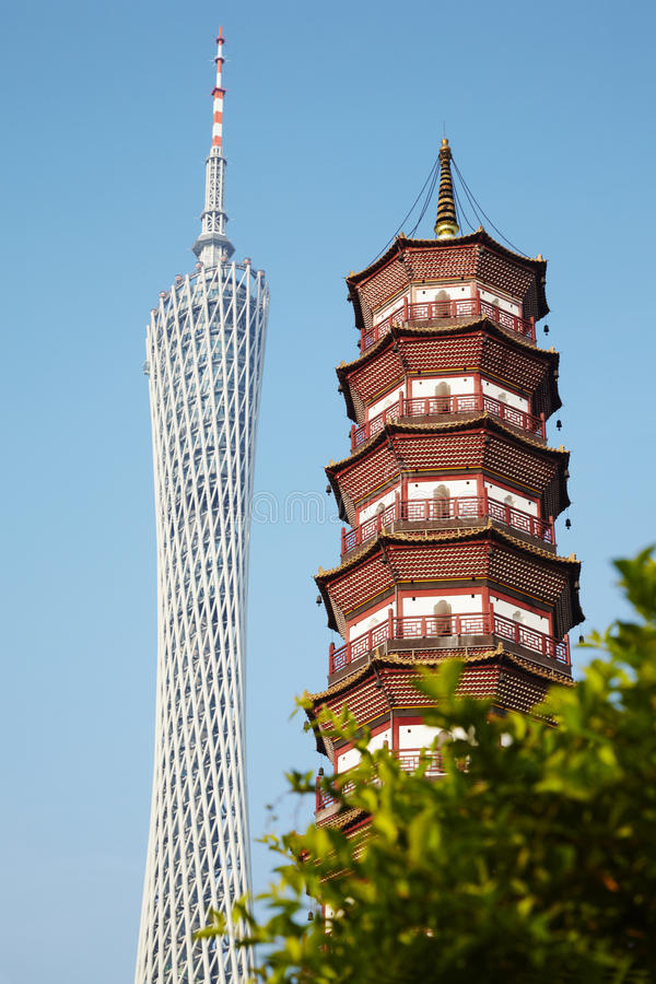 Canton Tower and Flower Pagoda of Temple stock photo