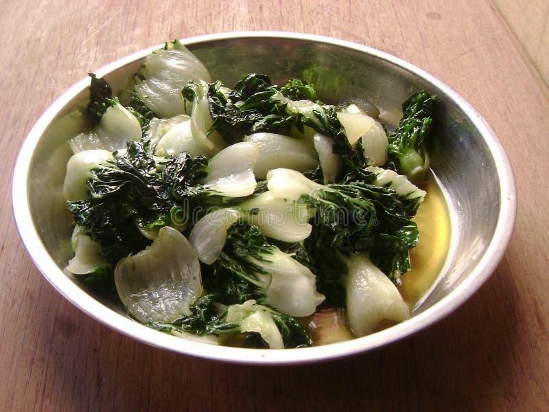 Cantonese food vegetable stir-fry pak choi stock photos