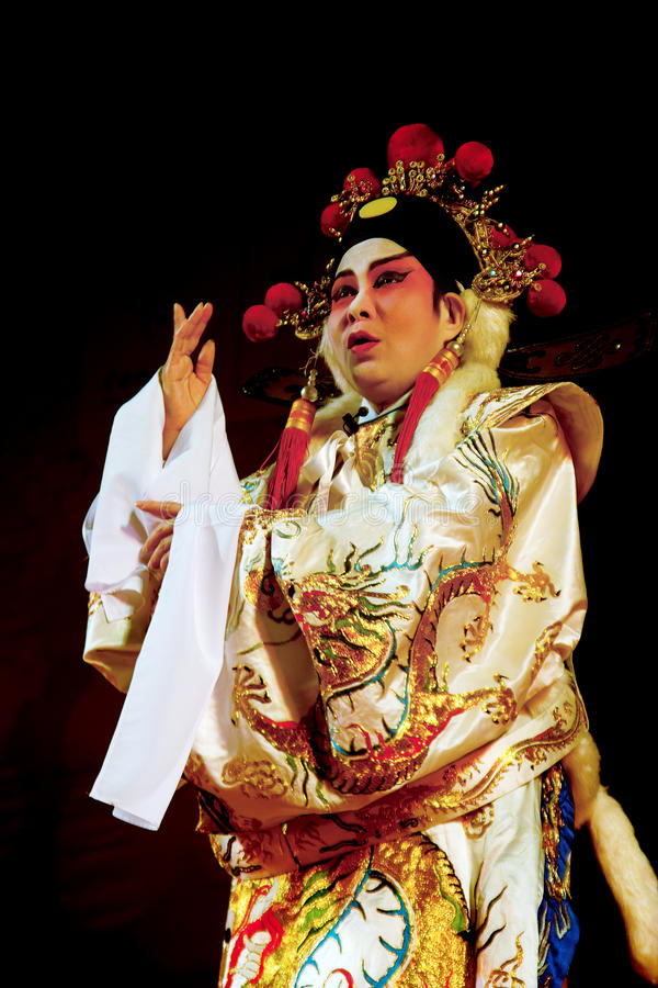 Cantonese opera excerpt. Chinese Opera in the black background stock photos