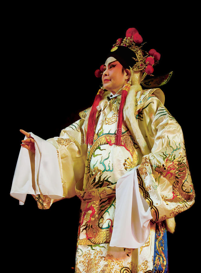 Cantonese opera excerpt. Chinese Opera in the black background royalty free stock photo