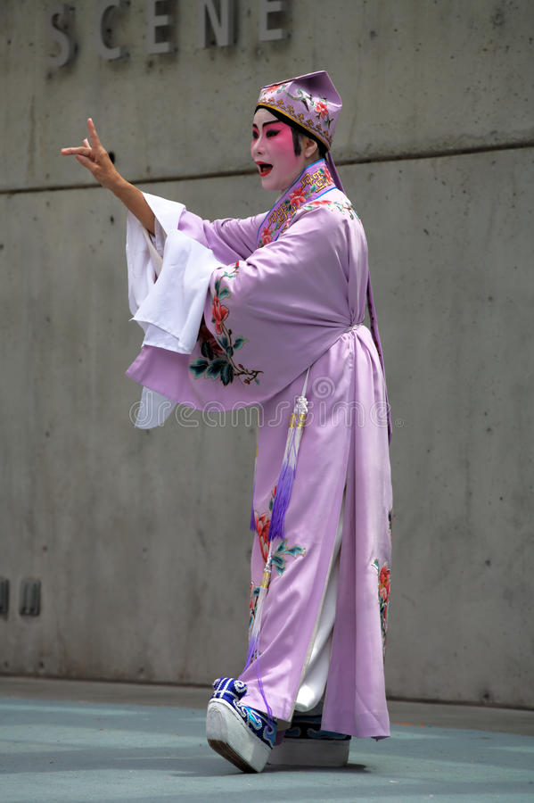 Cantonese Opera Performer: Peony Pavillion. A performer from the Vancouver Cantonese Opera plays the young scholar in an excerpt from Peony Pavillion, during stock photos
