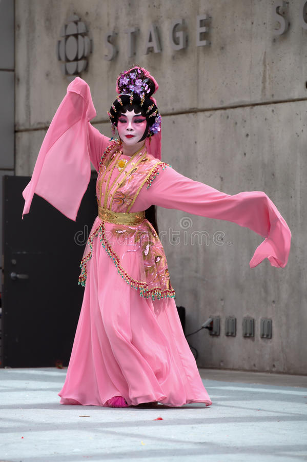 Cantonese Opera Performer: Peony Pavillion. A performer from the Vancouver Cantonese Opera plays the ghost/lover in an excerpt from Peony Pavillion, during royalty free stock photo