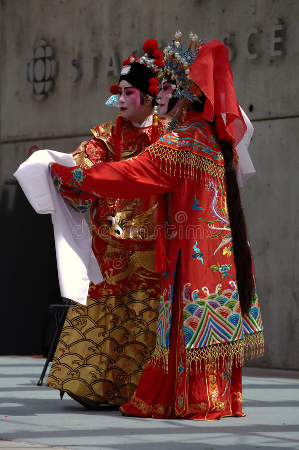 Cantonese Opera Performers: Patriotic Princess. Two performers from the Vancouver Cantonese Opera play Princess Chang Ping and Prince Consort Zhou Shi Xian, in stock images