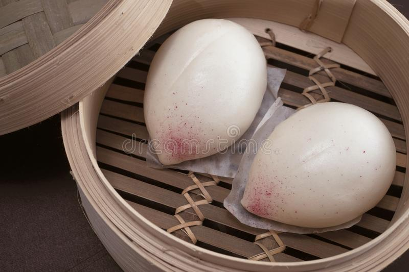 Cantonese Steamed Lotus Seed Paste Buns stock photography