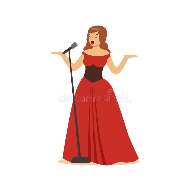 Cantor bonito da ópera da mulher no vestido vermelho longo que canta com microfone ilustração royalty free