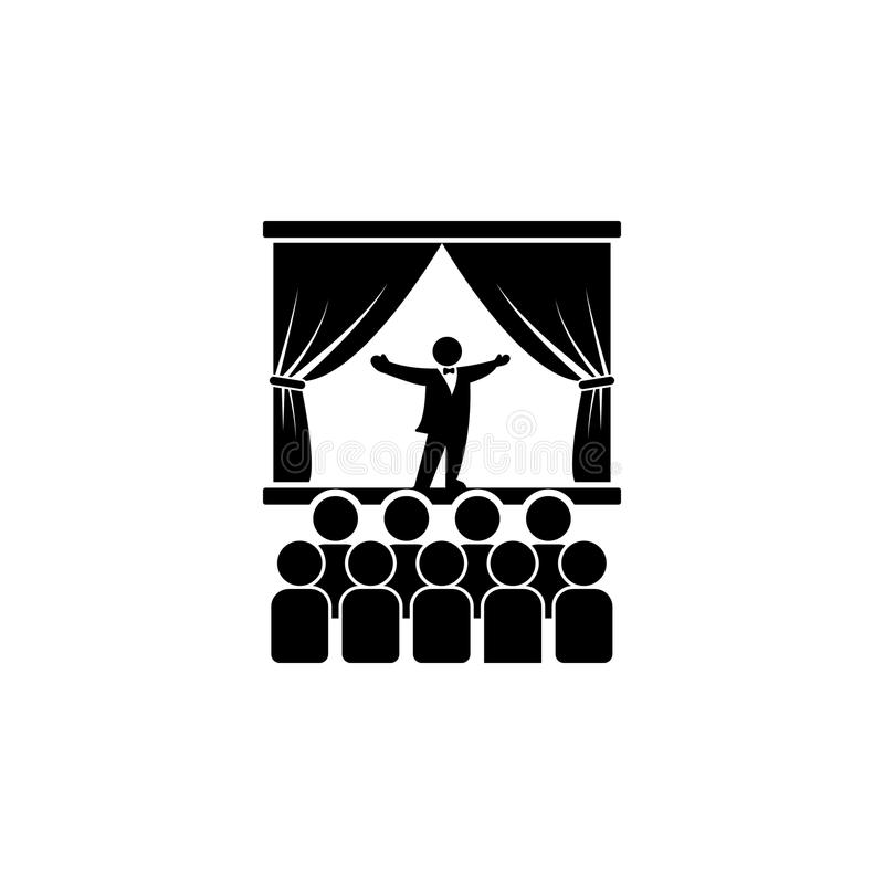 cantor da ópera no ícone da fase Elemento da ilustração do teatro e da arte Ícone superior do projeto gráfico da qualidade Sinais ilustração royalty free