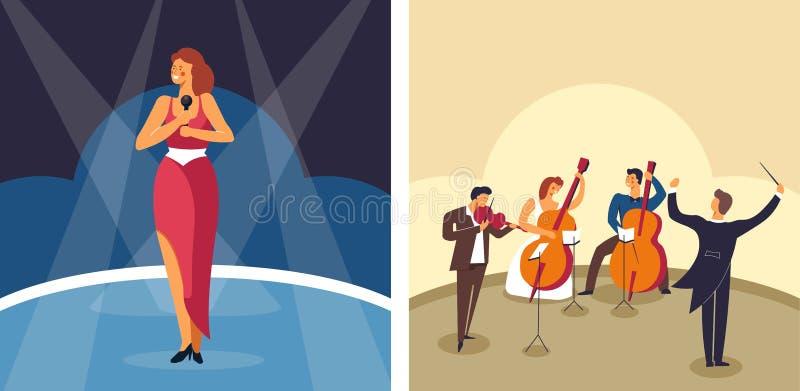 Cantor da música e artista e músicos fêmeas da orquestra na fase ilustração royalty free
