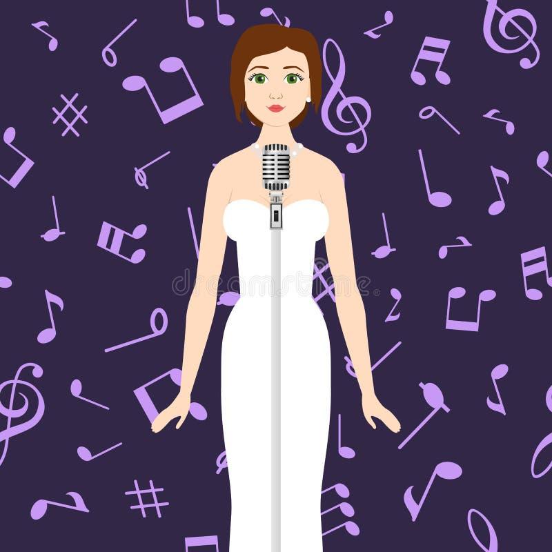 Cantor da mulher em notas musicais do dresson branco luxuoso com ilustração escura dos desenhos animados do vetor do fundo Teatro ilustração do vetor