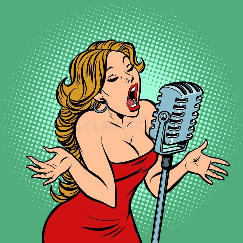 Cantor da mulher no microfone Cena do concerto da música ilustração do vetor