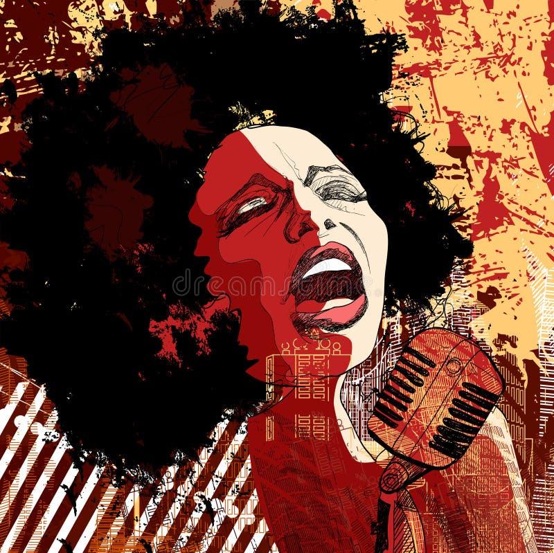 Cantor do jazz no fundo do grunge ilustração royalty free