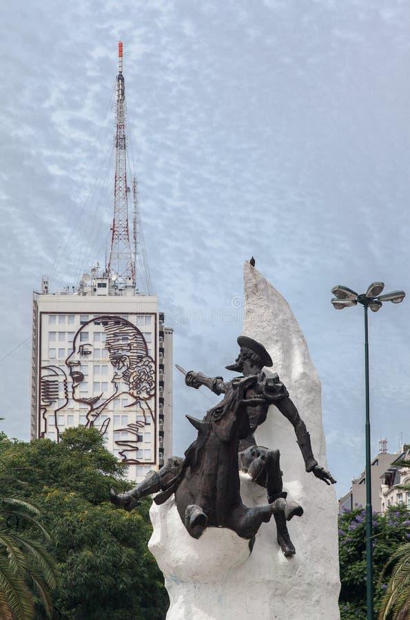 Cantor e Don Quijote Buenos Aires imagem de stock