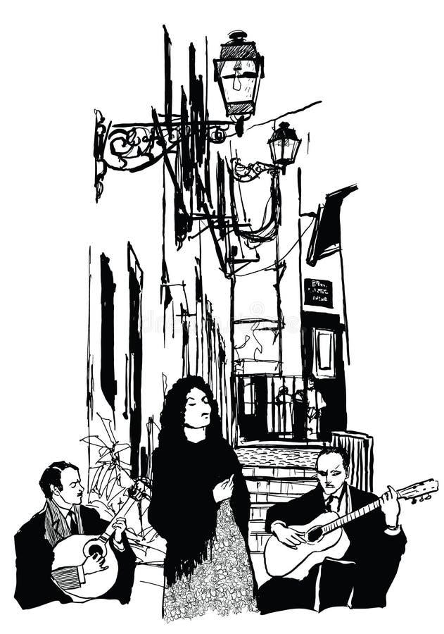 Cantor e guitarristas do Fado em Alfama Lisboa ilustração royalty free