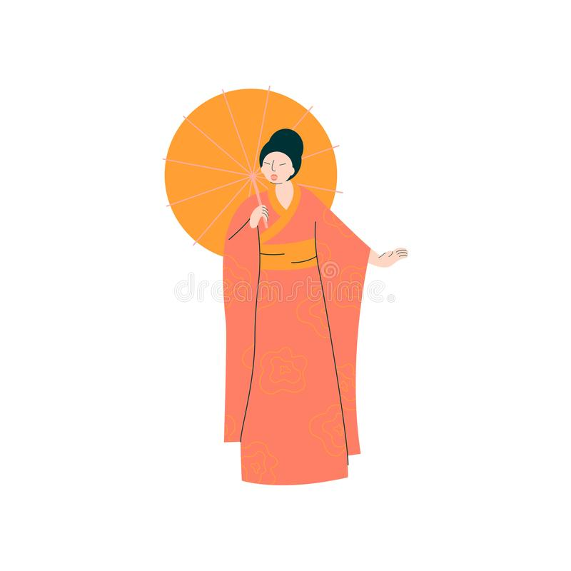 Cantor fêmea Performing On Stage de Opera, mulher bonita que dá a representação no vetor tradicional japonês da roupa ilustração stock