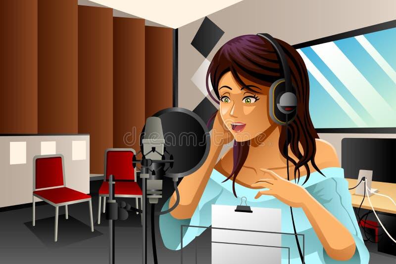 Cantor fêmea Singing ilustração stock
