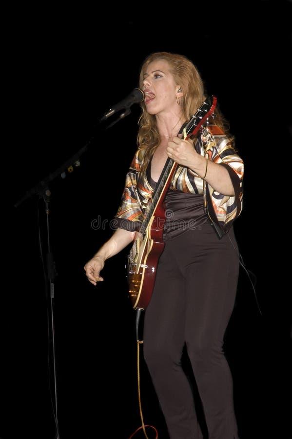 Cantor/guitarrista que joga no concerto vivo imagens de stock royalty free