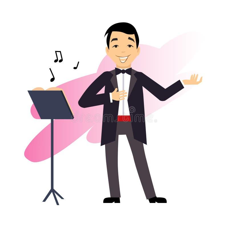 Cantor masculino da ópera ilustração stock