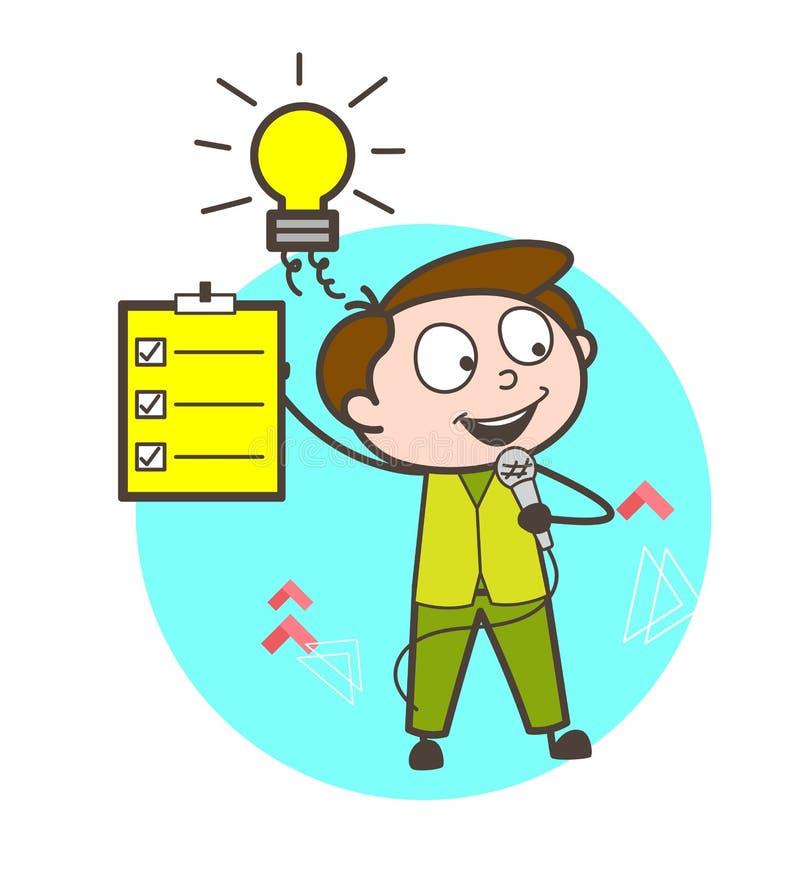 Cantor masculino Showing Checklist Vetora dos desenhos animados ilustração do vetor