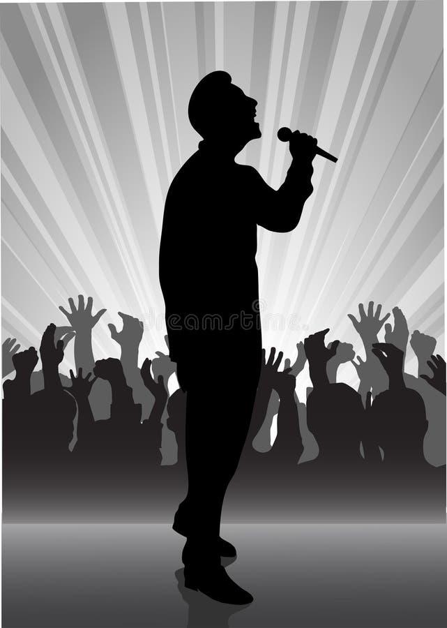 Cantor no microfone ilustração do vetor