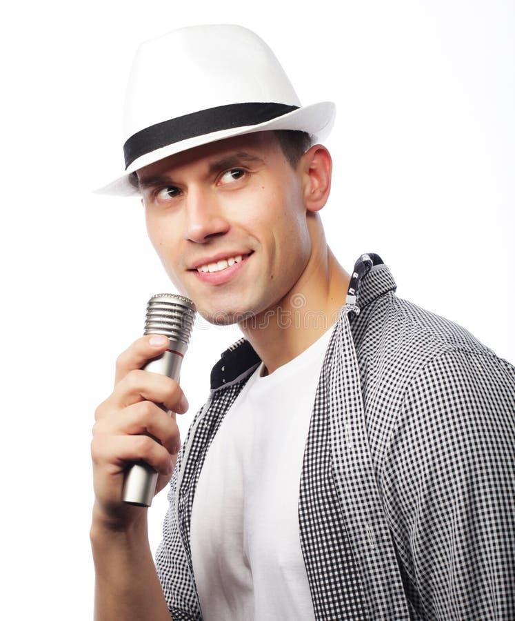 Cantor novo com microfone imagens de stock royalty free