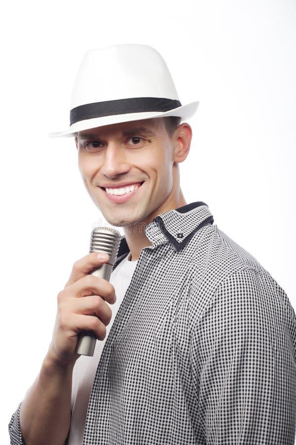 Cantor novo com microfone fotografia de stock royalty free