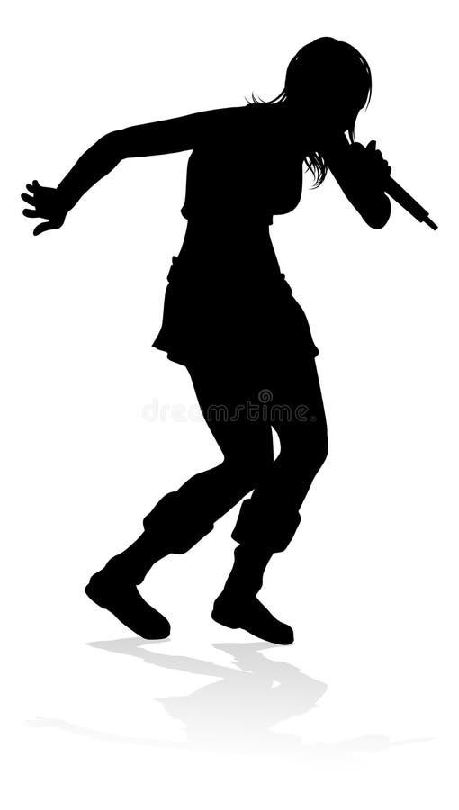 Cantor Pop Country ou mulher da silhueta da estrela do rock ilustração stock