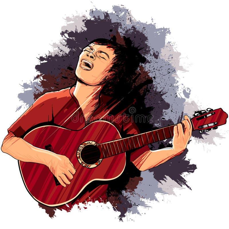 Cantor que joga a guitarra ilustração stock