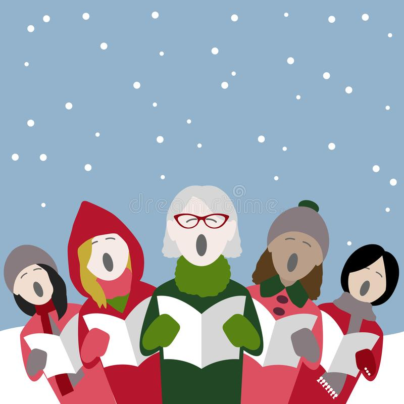 Cantores fêmeas da música de natal do Natal na neve ilustração royalty free