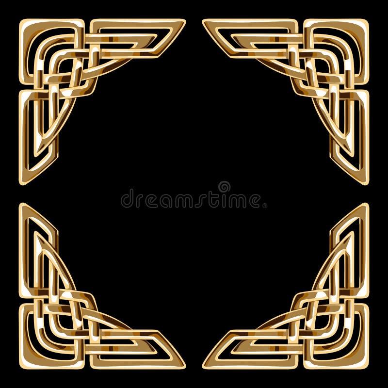 Cantos celtas dourados ilustração do vetor