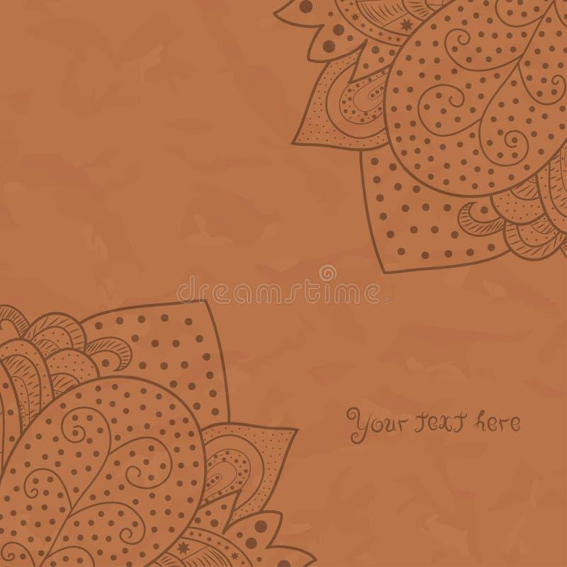 Cantos do convite do vintage no fundo marrom com ornamento do laço, projeto do grunge do quadro do molde para o cartão com textur ilustração stock