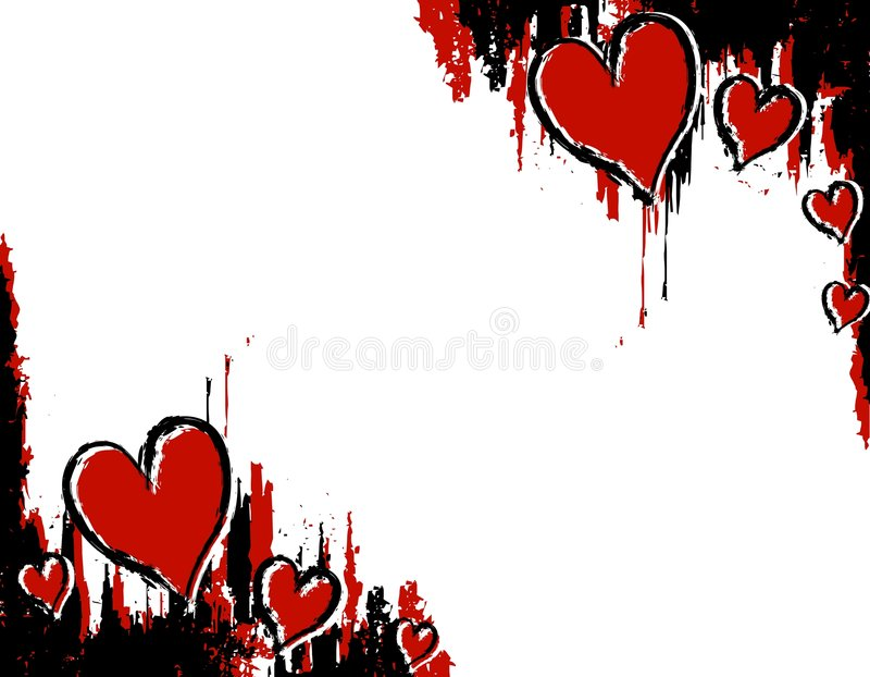 Cantos Do Coração Do Sangue Da Tinta De Grunge Fotos de Stock