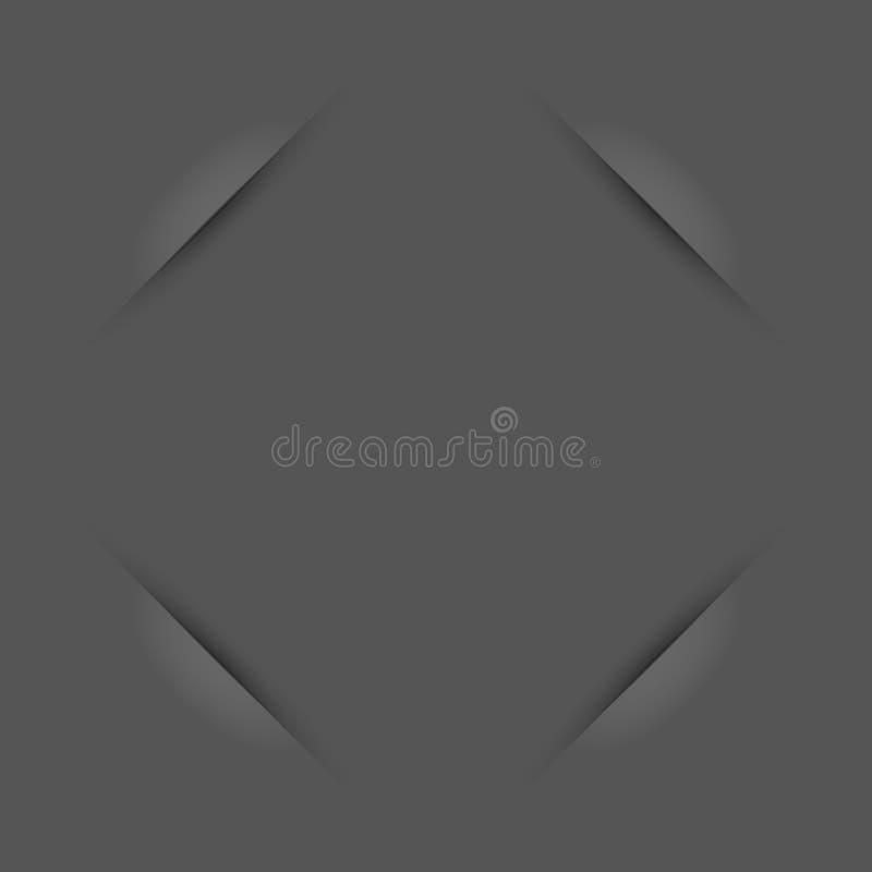 Cantos do frame da foto Grey Empty Vintage Photo Frame com entalhes de papel Elementos do projeto do vetor para você projeto ilustração stock