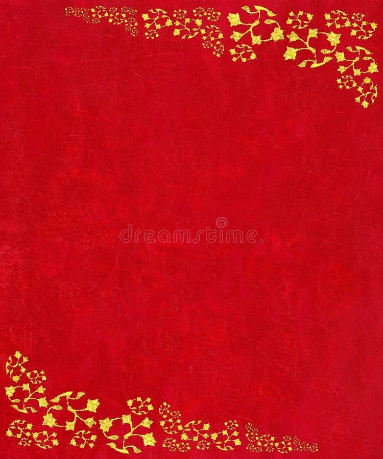 Cantos do rolo do ouro no fundo textured vermelho ilustração royalty free