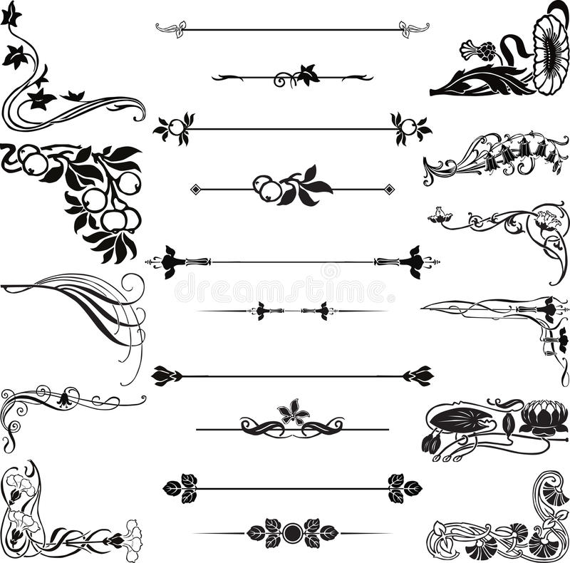 Cantos e divisores de Nouveau da arte ilustração royalty free