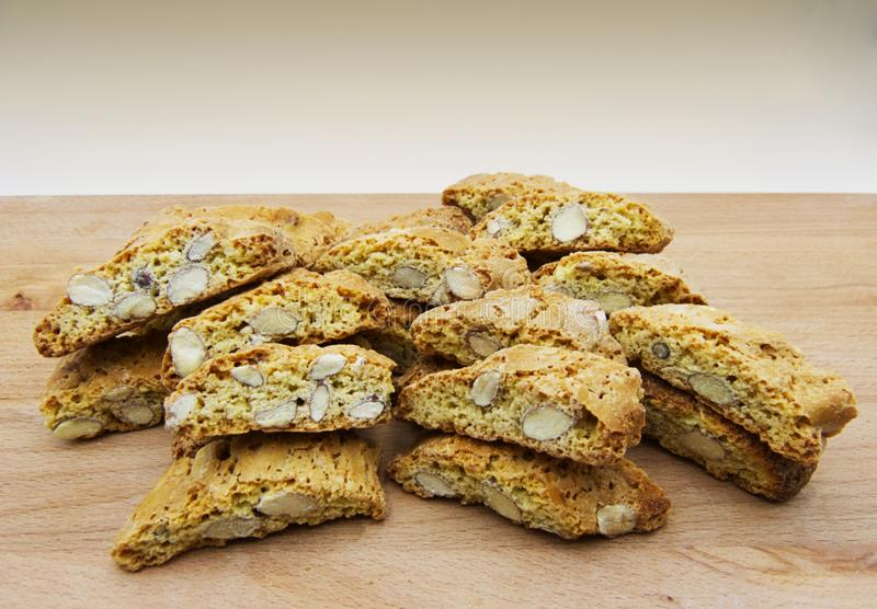 Cantucci dessert or cantuccini, dry almond biscuits, traditional tuscan cuisine, Italy. Cantucci, cantuccini, biscuit of prato, are part of the most typical royalty free stock photo