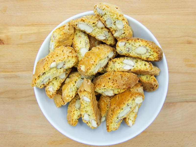 Cantucci dessert or cantuccini, dry almond biscuits, traditional tuscan cuisine, Italy. Cantucci, cantuccini, biscuit of prato, are part of the most typical stock photo