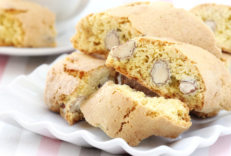 Cantucci. Or ni Toscani - Delicious Italian almond biscuits typical of Tuscany region royalty free stock photos