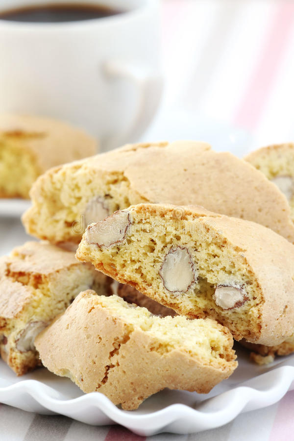 Cantucci. Or ni Toscani - Delicious Italian almond biscuits typical of Tuscany region stock photo