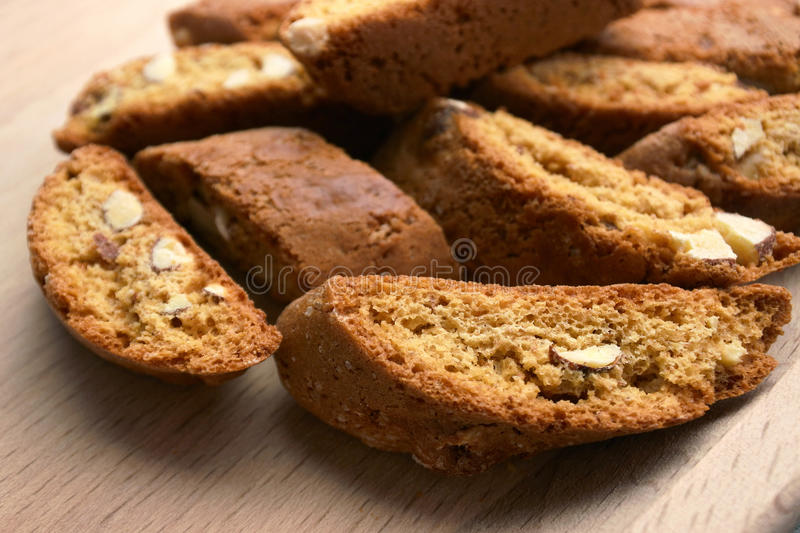 Cantucci cookies. Closeup of tuscan cantucci cookies with almond stock photos