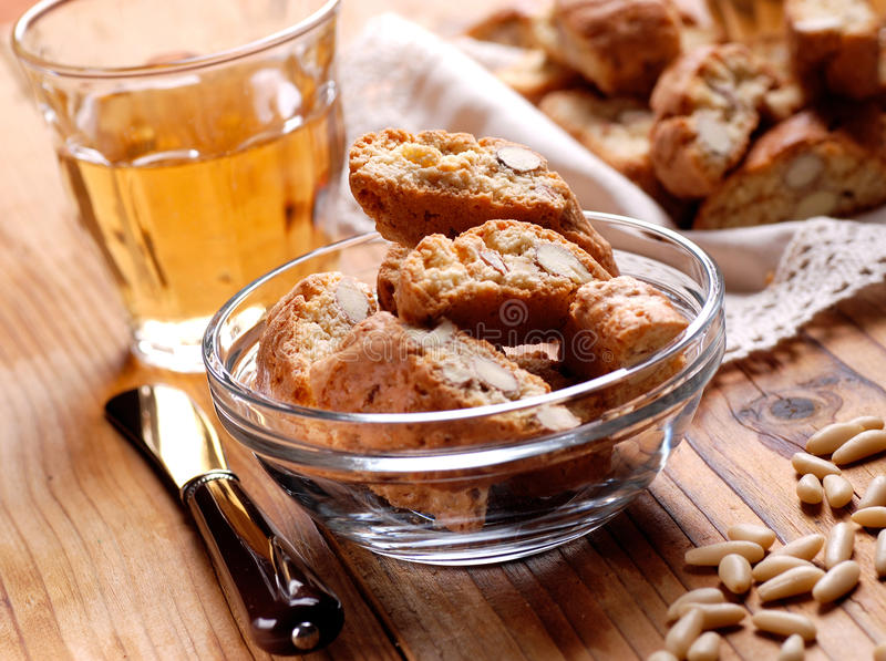 Cantucci cookies in glass bowl. Traditional Italian confectionery products stock images