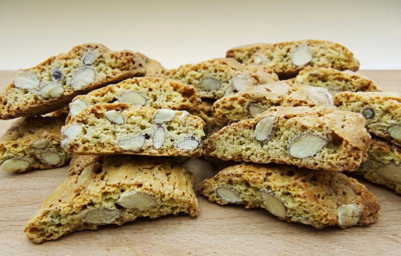 Cantucci dessert or cantuccini, dry almond biscuits, traditional tuscan cuisine, Italy. Cantucci, cantuccini, biscuit of prato, are part of the most typical royalty free stock photography