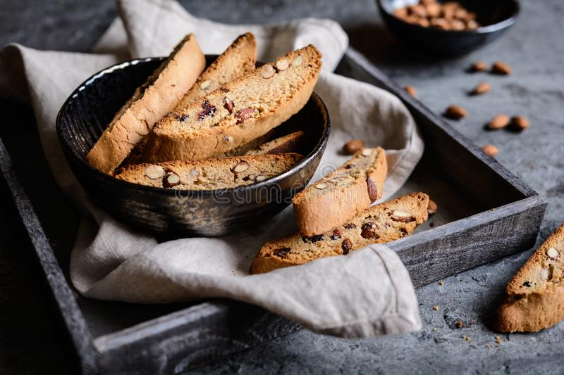 Cantuccini - traditional Italian almond biscuits. Cantuccini - delicious traditional Italian almond biscuits stock photos