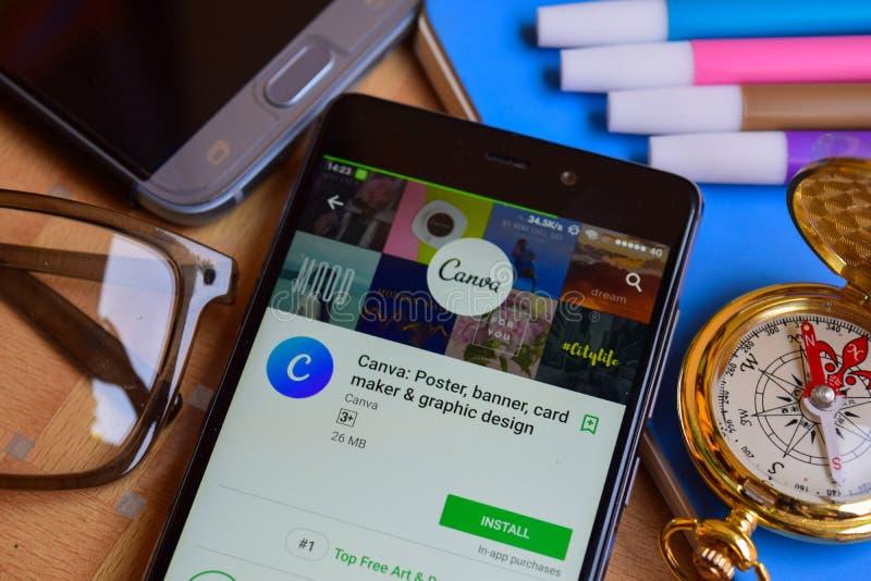 Canva: Cartel, bandera, fabricante y revelador app de la tarjeta del diseño gráfico en la pantalla de Smartphone foto de archivo libre de regalías