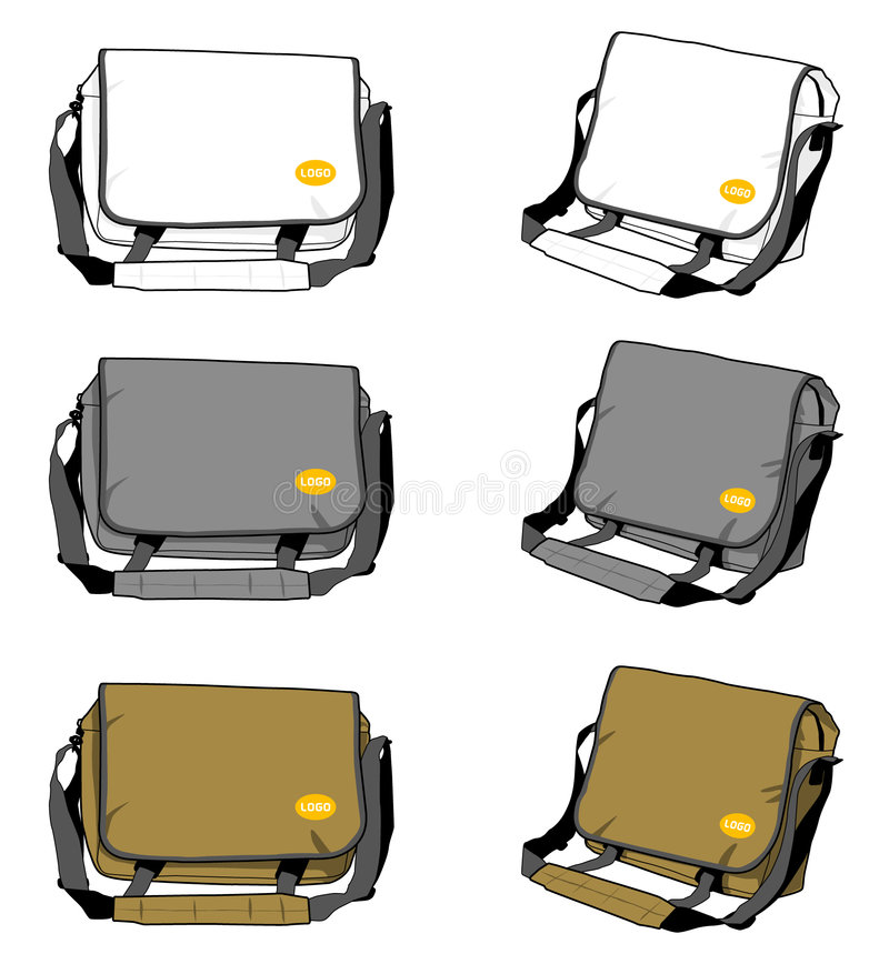 Canvas case. Vectored eps illustration of a canvas messenger laptop bag with space for Logo royalty free illustration