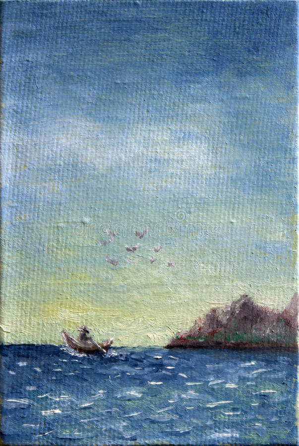 Download Canvas Oil Painting Of Boat At Sea Stock Image - Image of boat, background: 49698401