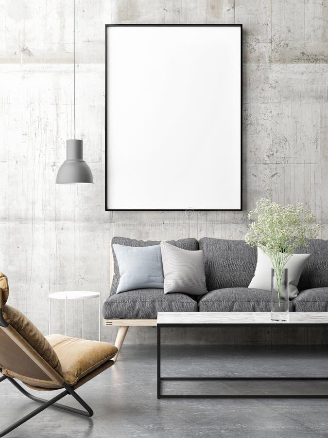 Canvas Onecht omhoog minimaal Skandinavisch ontwerp, woonkamer, royalty-vrije illustratie